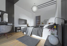 Luxurious, modern bedroom in contemporary style in black and whi Royalty Free Stock Images