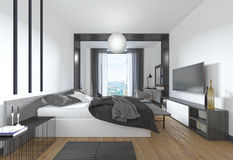 Luxurious, modern bedroom in contemporary style in black and whi Stock Photos