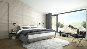 Luxurious modern bedroom. 3D rendering of a modern luxurious bedroom with a balcony Stock Image