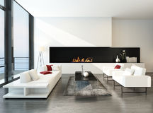 Luxurious modern desing living room with fireplace Royalty Free Stock Photography