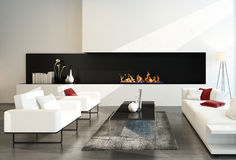 Luxurious modern desing living room with fireplace Royalty Free Stock Image