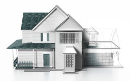 Luxurious modern house with wireframe rendered parts. 3D illustration Stock Photography