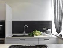 Luxurious modern kitchen stock photo