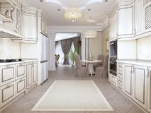 Luxurious modern kitchen in classic style in white colors with a dining table for four people. 3D rendering stock illustration