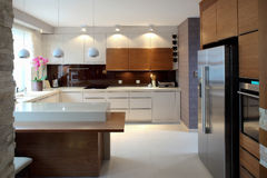 Luxurious modern kitchen Stock Photos