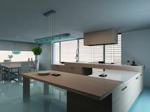 Luxurious modern kitchen interior Stock Photos
