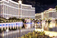 Luxurious Modern Las Vegas Hotel At Night.Long Exposure Stock Photos