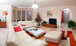 Luxurious modern living room. Interior of luxurious modern living or sitting room with Christmas tree in corner stock images