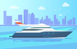 Luxurious Modern Yacht Stand near Long Coastline. Luxurious modern yacht stand out in sea near long coastline full of high skyscrapers and blue sky with clouds Stock Photo