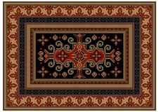 Motley carpet with ethnic ornaments and black field with patterns in the center. Luxurious motley carpet with ethnic ornaments and black field with patterns in Royalty Free Stock Photography