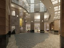 Luxurious Multi-storey Lobby Hall Of A Five-star Hotel, With Stone Walls And Floor. Columns And Ceiling Light Royalty Free Stock Images