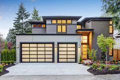 Luxurious new construction home in Bellevue, WA royalty free stock image