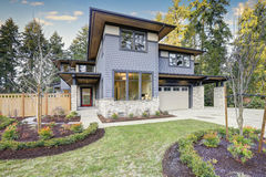 Luxurious new construction home in Bellevue, WA royalty free stock photos