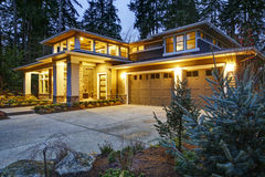 Free Luxurious New Construction Home Exterior At Sunset Stock Images - 85564964