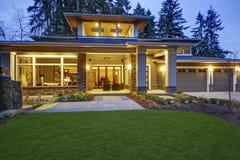 Luxurious new construction home exterior stock photos