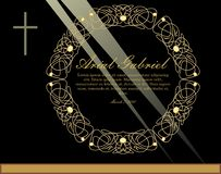 Luxurious obituary with golden circle filigree patterned wreath and simple crucifix on black background with light rays. Burial announcement in luxurious stock illustration