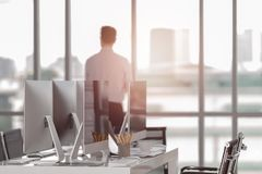 Luxurious office in the heart of the city with modern computers royalty free stock photos