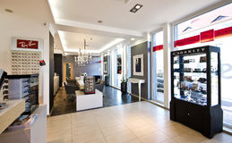 Luxurious optician shop in Poland. Interior of a luxurious sunglasses shop with branded names in Poland Stock Photo