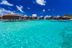 Luxurious overwater bungallows in the lagoon on a tropical islan Stock Photos