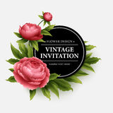 Luxurious  peony flower and leaves greeting card Royalty Free Stock Images