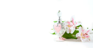Luxurious perfume bottle with flowers on white background. Feminine beauty concept. Royalty Free Stock Photography
