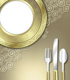 Luxurious place setting. A unique illustration of a very upscale place setting for a meal.  This would be ideal for use in an invitiation for a dinner party or Stock Photography