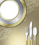 Luxurious place setting. A unique illustration of a very upscale place setting for a meal.  This would be ideal for use in an invitiation for a dinner party or Royalty Free Stock Images