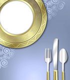Luxurious place setting. A unique illustration of a very upscale place setting for a meal.  This would be ideal for use in an invitiation for a dinner party or Royalty Free Stock Photography