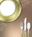 Luxurious place setting. A unique illustration of a very upscale place setting for a meal.  This would be ideal for use in an invitiation for a dinner party or Royalty Free Stock Image