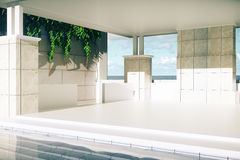 Luxurious pool with patio closeup Royalty Free Stock Image