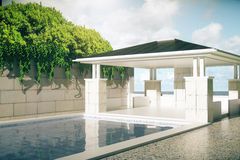 Luxurious pool with patio. Luxurious outdoor pool and patio exterior with green trees on sky background with sunlight. 3D Rendering Stock Photography