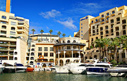 Luxurious Portomaso Marina in Malta. SAINT JULIAN' S , MALTA, EUROPE - NOVEMBER 8, 2014. Luxurious Portomaso Marina ,Malta's most exclusive residential, leisure Royalty Free Stock Photography