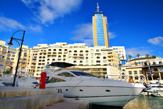 Luxurious Portomaso Marina in Malta. SAINT JULIAN' S , MALTA, EUROPE - NOVEMBER 8, 2014. Luxurious Portomaso Marina ,Malta's most exclusive residential, leisure Royalty Free Stock Images