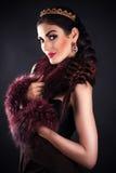 Luxurious princess in the diadem. Beautiful luxurious princess in the diadem royalty free stock photography