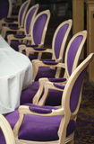 Luxurious Purple Chairs in Formal Dining Room Stock Image