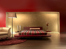 Luxurious Red Leather Bedroom. Modern bedroom with red leather cover and red carpet on wooden floor Stock Photography