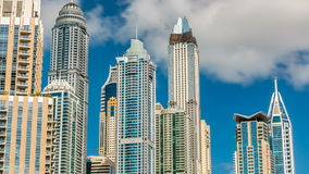 Luxurious Residence Buildings timelapse in Dubai Marina, UAE stock video