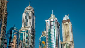 Luxurious Residence Buildings timelapse hyperlapse in Dubai Marina, UAE stock video footage