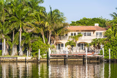 Luxurious residence at the waterfront in South Miami Royalty Free Stock Photos