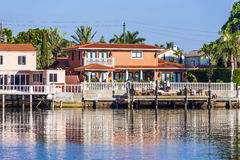 Luxurious residence at the waterfront in South Miami Stock Photos