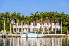 Luxurious residence at the waterfront in South Miami Royalty Free Stock Photo