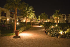 Luxurious resort night scene Royalty Free Stock Images