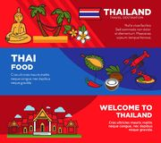 Luxurious resort in tropical Thailand promotional posters set. Exotic food and famous attractions on travel agency banners. Journey to hot country near ocean Stock Photos