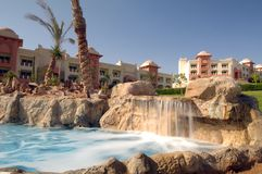 Luxurious resort waterfall Royalty Free Stock Photos
