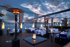Luxurious restaurant and night club in Bosporus Istanbul Turkey Royalty Free Stock Image