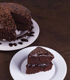 Luxurious Rich Chocolate  Cake on White Plate Stock Photos