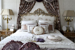 Luxurious and romantic double bed Royalty Free Stock Image