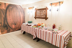 Luxurious rural-style catering table in restaurant ready for wedding celebration Royalty Free Stock Images