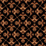 Luxurious seamless pattern with bronze gradient decorative ornament on black background Royalty Free Stock Image