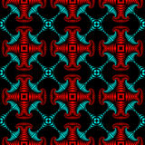Luxurious seamless pattern with metallic red and cyan decorative ornament on black background Stock Photography